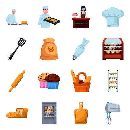 Isolated object of bakery and natural icon. Collection of bakery and utensils stock symbol for web. Ilustração