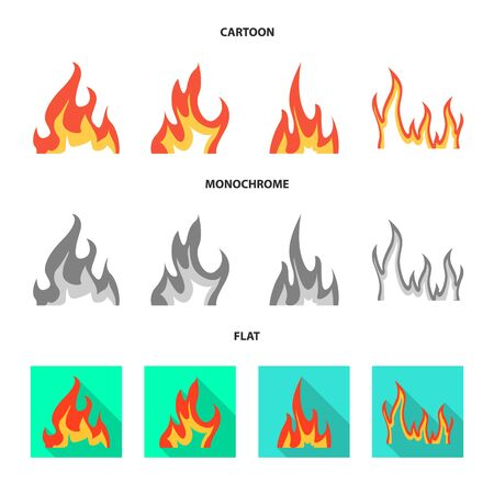 Vector design of bright and dangerous . Set of bright and wildfire vector icon for stock. Illustration