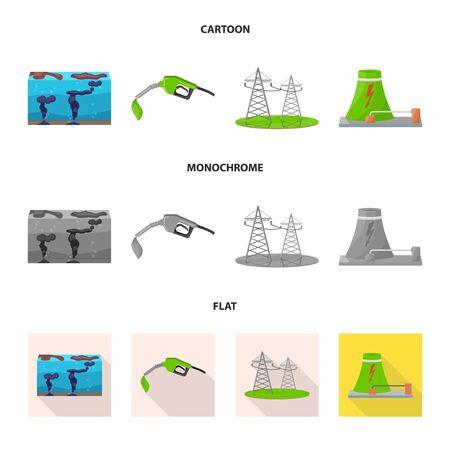 Illustrazione vettoriale di tecnologia e simbolo organico. Raccolta di tecnologia e icona di vettore alternativo per stock.