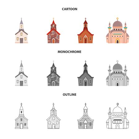Vector design of cult and temple icon. Collection of cult and parish stock symbol for web.