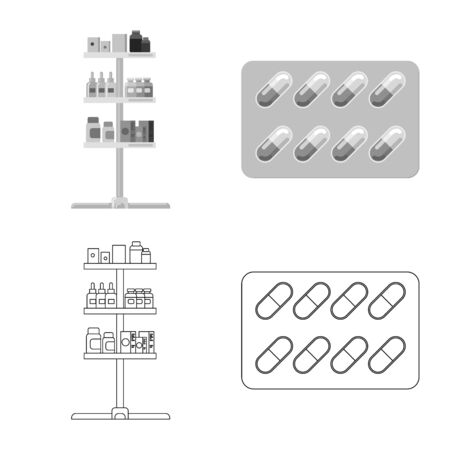 Vector illustration of pharmacy and hospital. Set of pharmacy and business vector icon for stock.