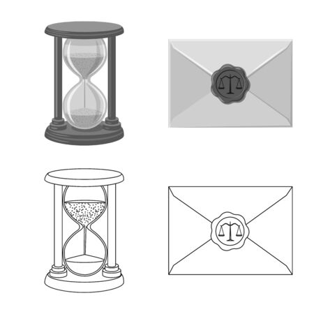 Isolated object of law and lawyer symbol. Collection of law and justice stock vector illustration.