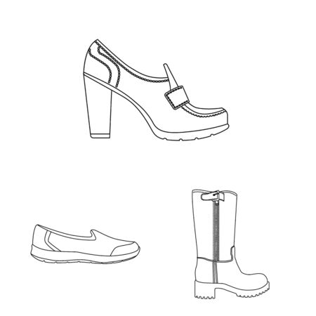 Isolated object of footwear and woman icon. Collection of footwear and foot vector icon for stock.
