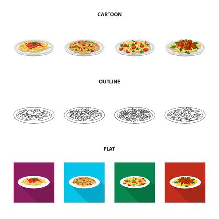 Vector design of pasta and carbohydrate. Collection of pasta and macaroni vector icon for stock.