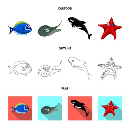 Vector illustration of sea and animal sign. Collection of sea and marine stock symbol for web.  イラスト・ベクター素材
