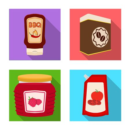 Vector design of can and food symbol. Collection of can and package stock symbol for web.