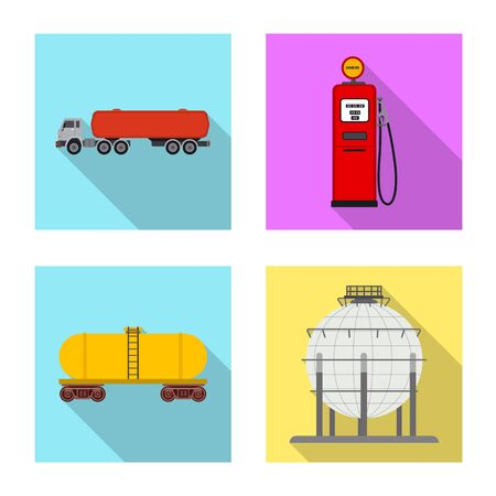 Vector design of oil and gas symbol. Collection of oil and petrol vector icon for stock. Ilustração