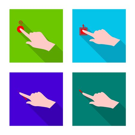 Isolated object of touchscreen and hand icon. Collection of touchscreen and touch vector icon for stock.