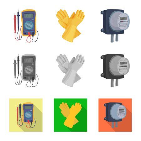 Diseño vectorial de electricidad y electricidad. Conjunto de símbolo de stock de electricidad y energía para web.