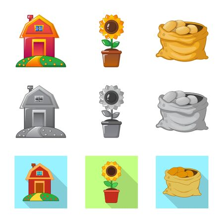 Isolated object of farm and agriculture symbol. Collection of farm and plant stock symbol for web.