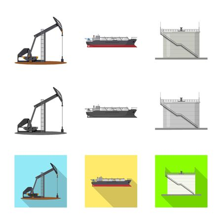 Isolated object of oil and gas. Collection of oil and petrol vector icon for stock. Ilustração