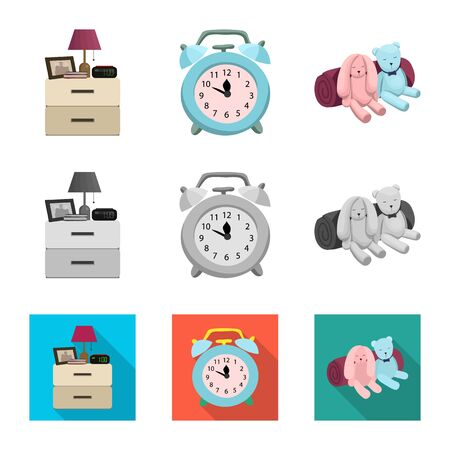 Vector design of dreams and night icon. Set of dreams and bedroom stock symbol for web. Stock Vector - 129676180