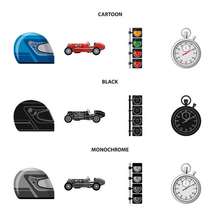 Vector design of car and rally icon. Collection of car and race stock vector illustration. Иллюстрация