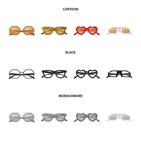 Vector illustration of glasses and sunglasses symbol. Set of glasses and accessory stock vector illustration.