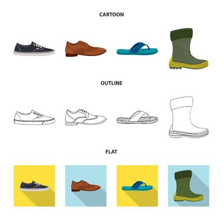 Isolated object of shoe and footwear icon. Collection of shoe and foot stock symbol for web. Illustration