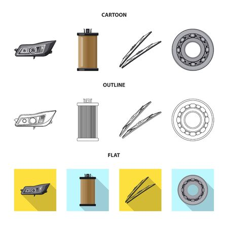 Vector design of auto and part. Set of auto and car stock vector illustration. Иллюстрация