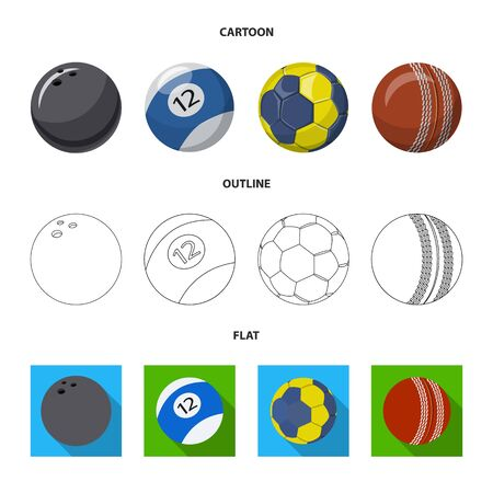 Vector design of sport and ball sign. Set of sport and athletic stock symbol for web.