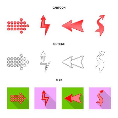 Vector design of element and arrow symbol. Collection of element and direction stock symbol for web.