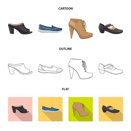 Vector design of footwear and woman symbol. Set of footwear and foot vector icon for stock. Illustration