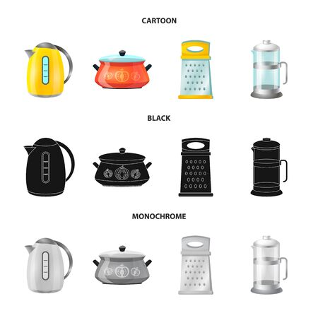 Vector illustration of kitchen and cook. Set of kitchen and appliance stock symbol for web.