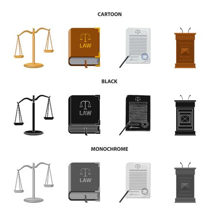 Vector design of law and lawyer. Set of law and justice vector icon for stock. Иллюстрация