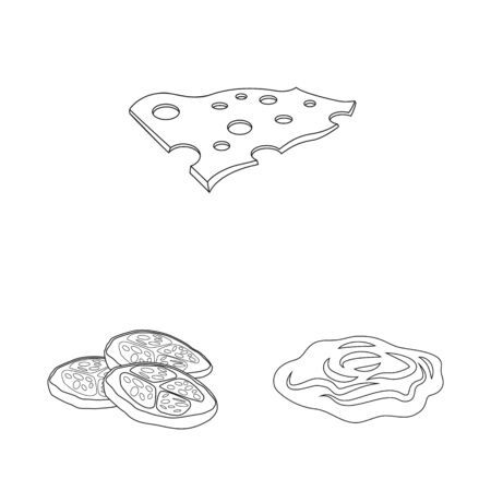 Isolated object of burger and sandwich. Collection of burger and slice stock symbol for web.  イラスト・ベクター素材