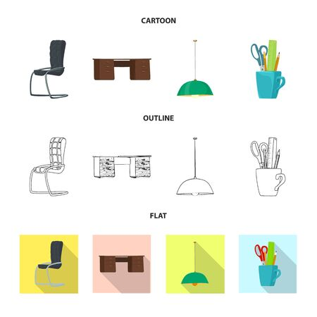 Isolated object of furniture and work sign. Collection of furniture and home vector icon for stock.