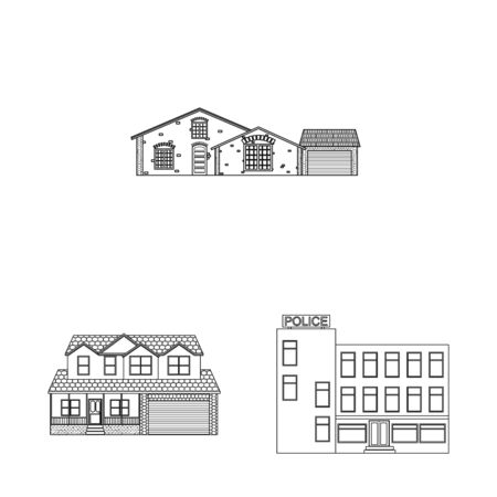 Vector illustration of building and front sign. Set of building and roof stock symbol for web.  イラスト・ベクター素材