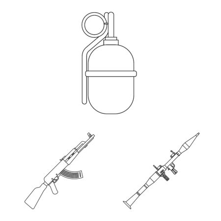 Isolated object of weapon and gun. Set of weapon and army vector icon for stock.