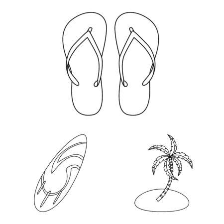 Vector illustration of equipment and swimming. Collection of equipment and activity stock vector illustration.