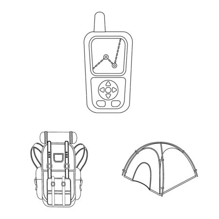Vector illustration of mountaineering and peak symbol. Collection of mountaineering and camp stock symbol for web.  イラスト・ベクター素材