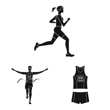 Isolated object of health and fitness  . Set of health and sprint vector icon for stock.