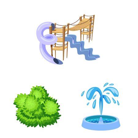 Vector design of landscape and park symbol. Set of landscape and nature stock symbol for web.