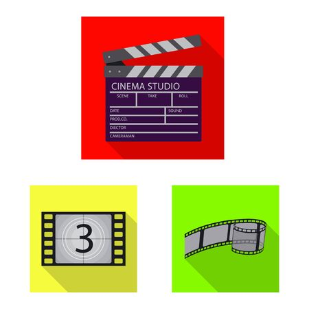 Isolated object of television and filming. Collection of television and viewing stock vector illustration.