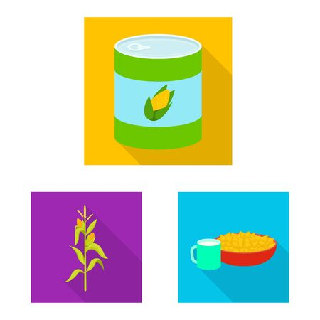 Isolated object of cornfield and vegetable sign. Set of cornfield and vegetarian stock symbol for web.