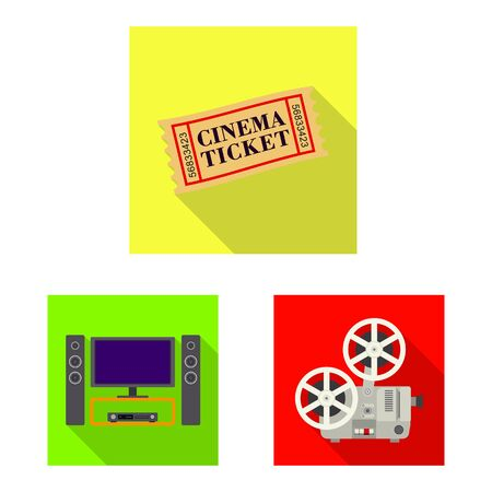 Isolated object of television and filming sign. Set of television and viewing stock symbol for web.