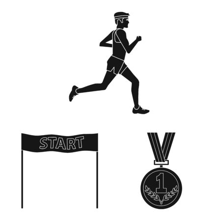 Vector design of health and fitness icon. Collection of health and sprint stock symbol for web.