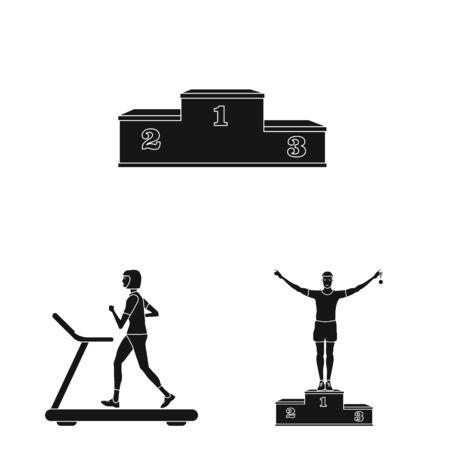 Vector illustration of health and fitness sign. Set of health and sprint stock vector illustration. Иллюстрация