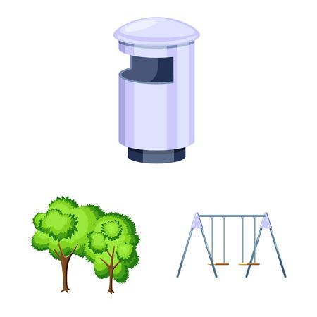 Vector design of landscape and park icon. Collection of landscape and nature stock vector illustration.