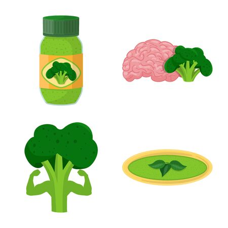 Vector illustration of eating and diet symbol. Collection of eating and healthy stock symbol for web.