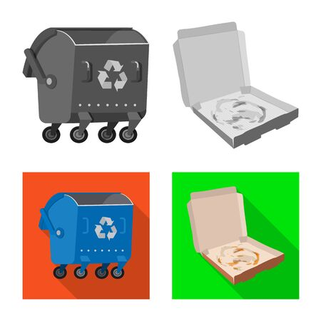 Vector illustration of refuse and junk sign. Collection of refuse and waste stock symbol for web.