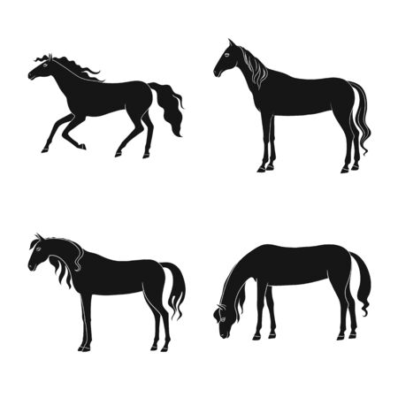 Vector illustration of fauna and mare. Collection of fauna and stallion vector icon for stock. Çizim