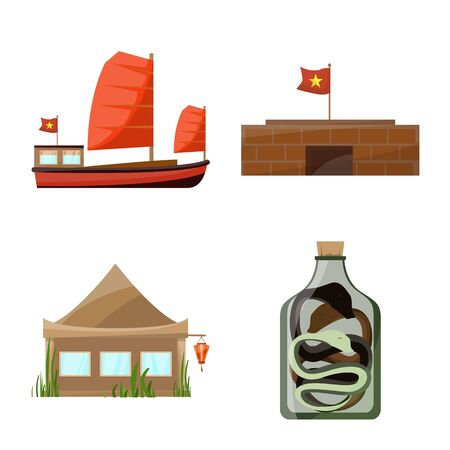 Vector illustration of vietnam and traditional. Set of vietnam and asia stock symbol for web.