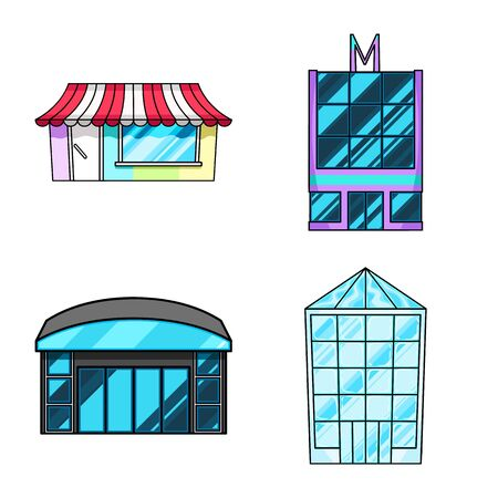 Vector design of supermarket and building sign. Collection of supermarket and city stock symbol for web.