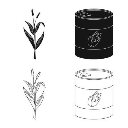 Vector design of cornfield and vegetable symbol. Set of cornfield and vegetarian vector icon for stock. Çizim