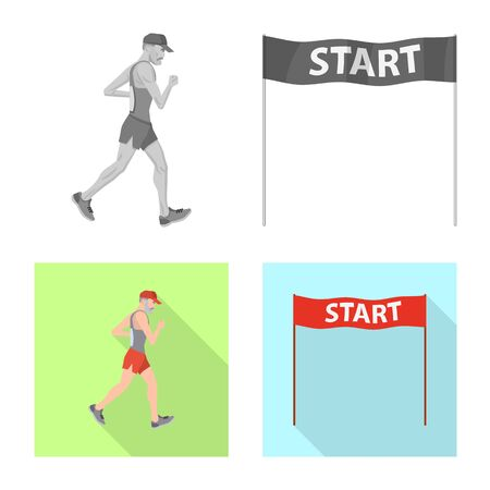 Isolated object of sport and winner icon. Collection of sport and fitness stock vector illustration. Stock Illustratie