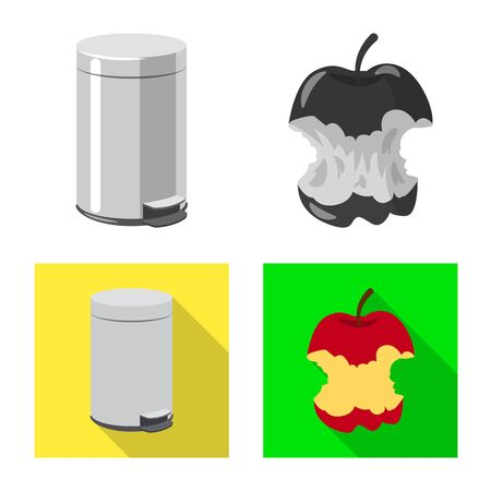 Isolated object of refuse and junk icon. Collection of refuse and waste stock vector illustration.  イラスト・ベクター素材
