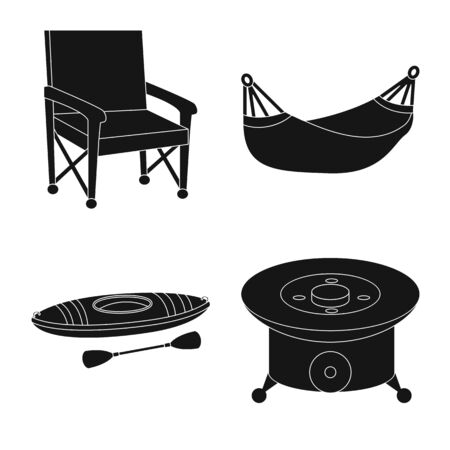 Isolated object of barbeque and rest symbol. Collection of barbeque and nature stock vector illustration.
