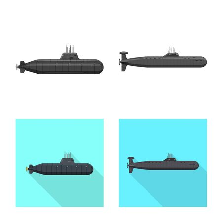 Vector illustration of war and ship symbol. Set of war and fleet vector icon for stock.