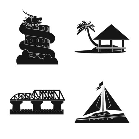Vector design of country and national icon. Collection of country and travel stock vector illustration.  イラスト・ベクター素材